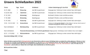 Unsere Schließzeiten 2022